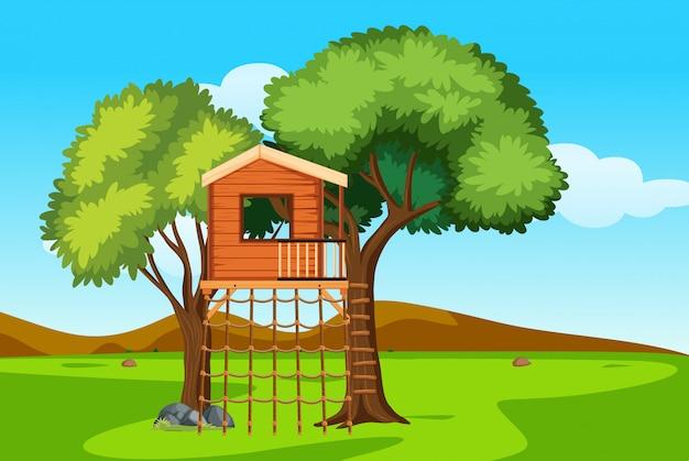 自然の中の樹上の家