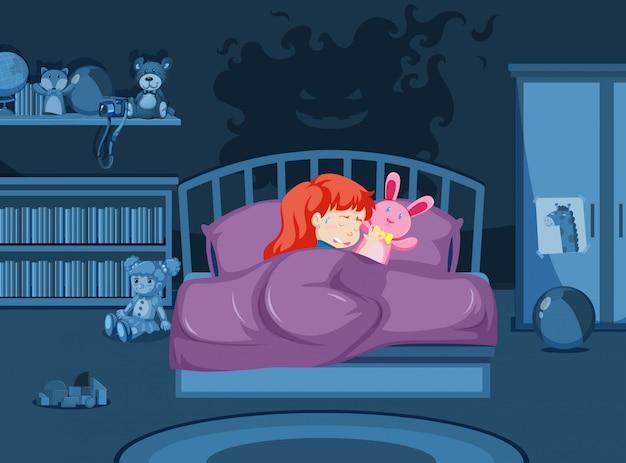 悪夢を見ている少女