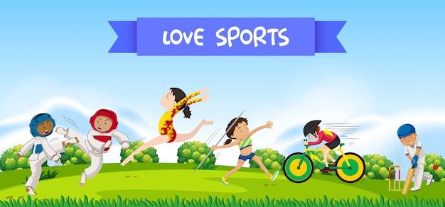 Спорт спортсменов на природе