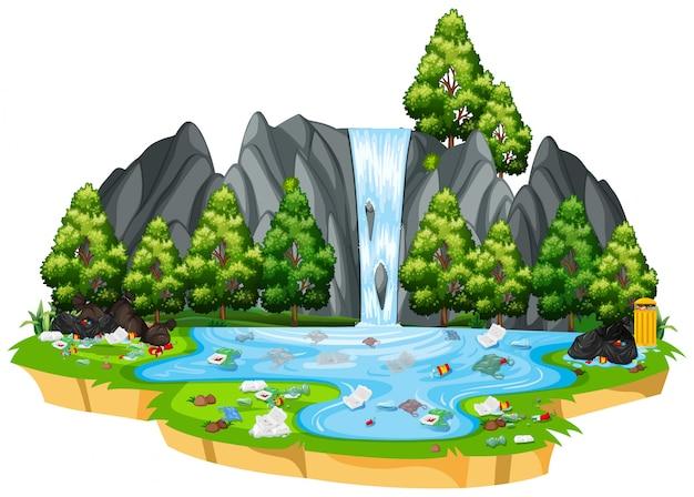 孤立した自然風景の中の汚染