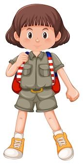 ブルネットの少女スカウトキャラクター