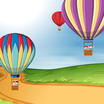 熱気球の子供たち
