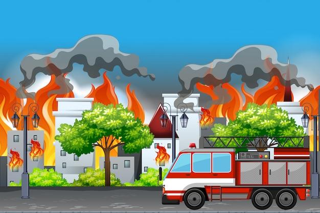 町のアパートで火災