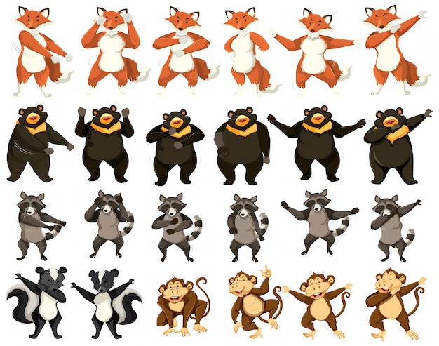 Набор танцующих животных