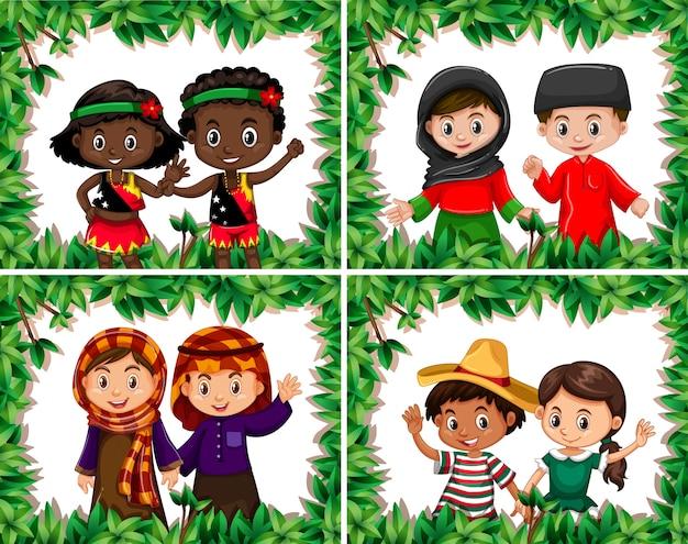 葉の罫線でさまざまな子供たちのセット
