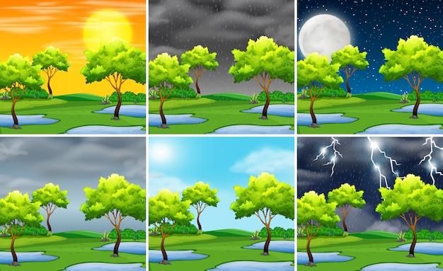 自然風景の異なる天気のセット
