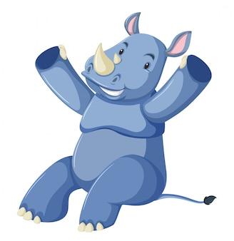 Счастливый синий носорог на белом фоне