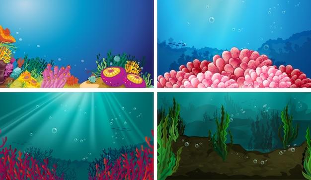 水中のシーンセットのイラスト