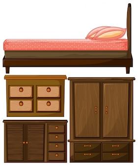 木製家具のベッドとクローゼットのセット