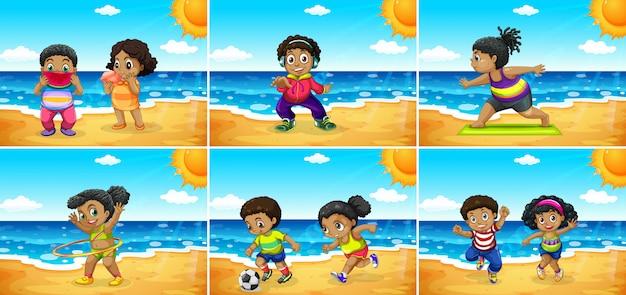 ビーチでのアフリカの子供たちのセット