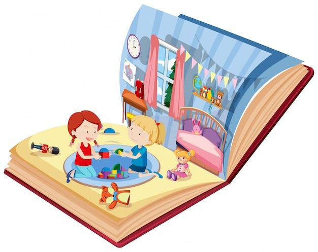 Девочки играют в спальне на книге