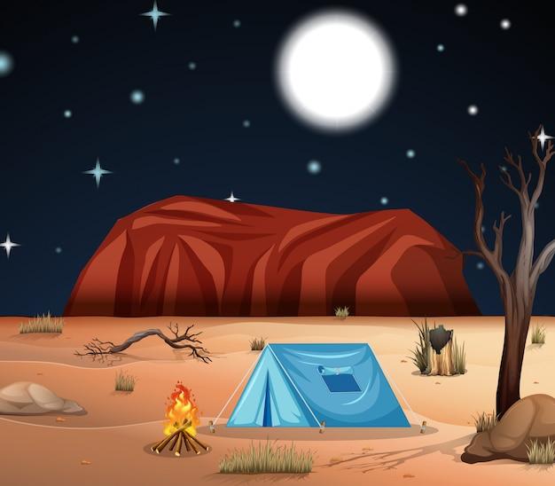 砂漠でのキャンプ