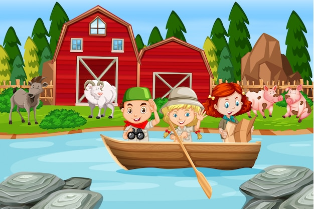 農村の農場でキャンプの子供たち