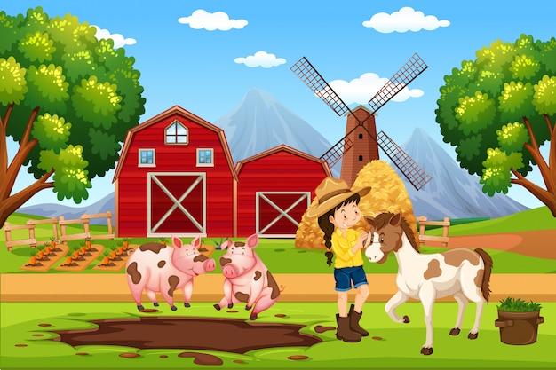 農場風景の農家