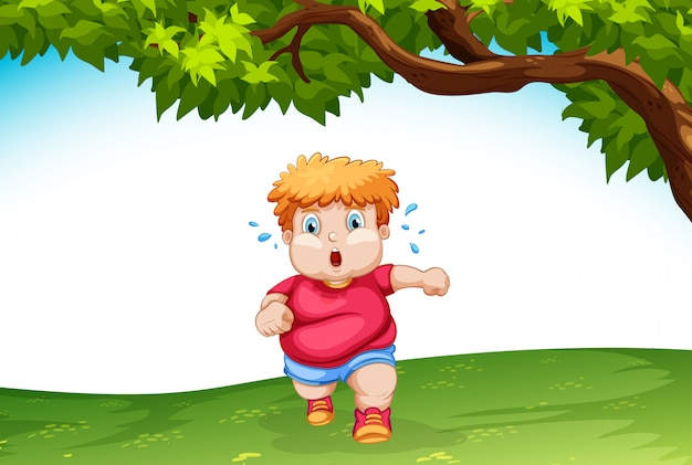 Тучный ребенок бежит на улицу