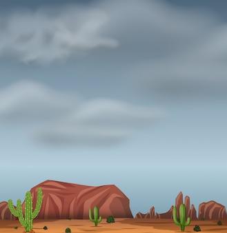 砂漠の荒れ模様の背景シーン