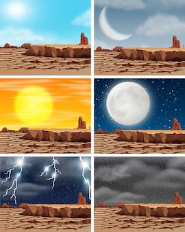 干ばつ土地の異なる気候のセット