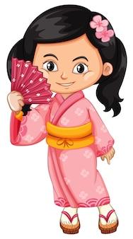 アジアの女の子が伝統的な日本のドレスを着て
