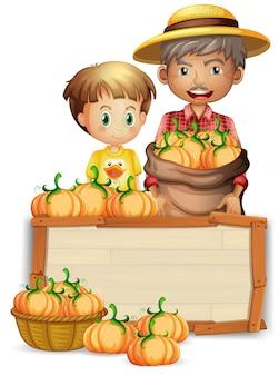 Фермер с тыквой деревянный баннер