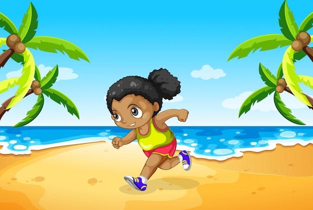 ビーチで走っている少女
