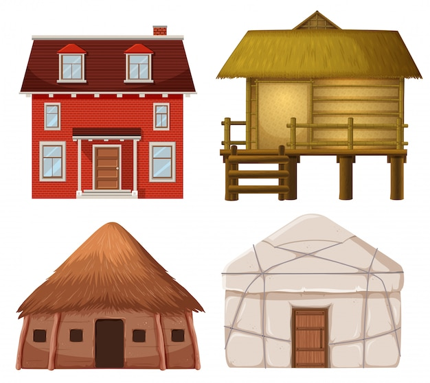 伝統的な家のセット
