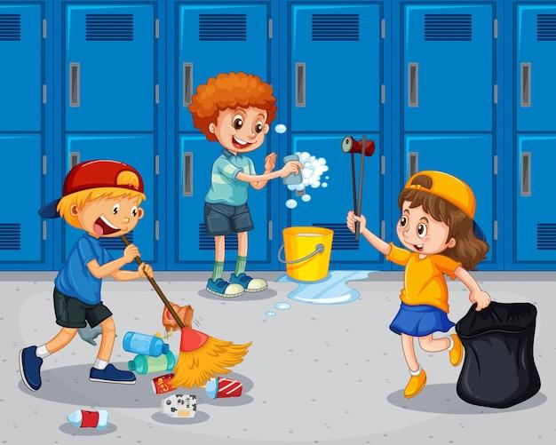 廊下を掃除する学生