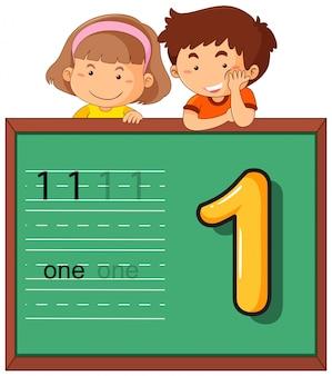 Мальчик и девочка с номером один
