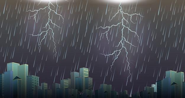 雷雨の嵐の都会の風景