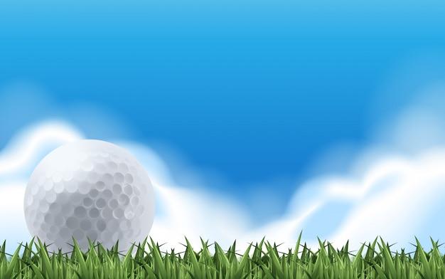 緑の野原でゴルフ