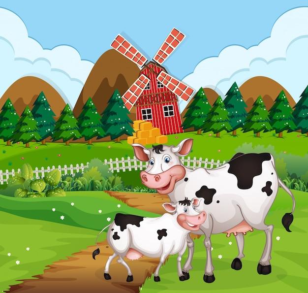 農地のシーンで牛します。