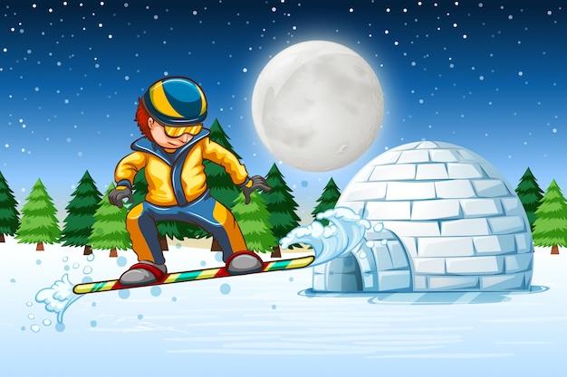 Человек катается на сноуборде на природе