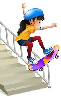テ階段でスケートボードの女の子