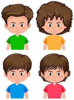 男の子の異なる髪型のセット