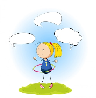 スピーチの泡を持つ少女