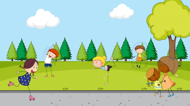 公園で子供たち