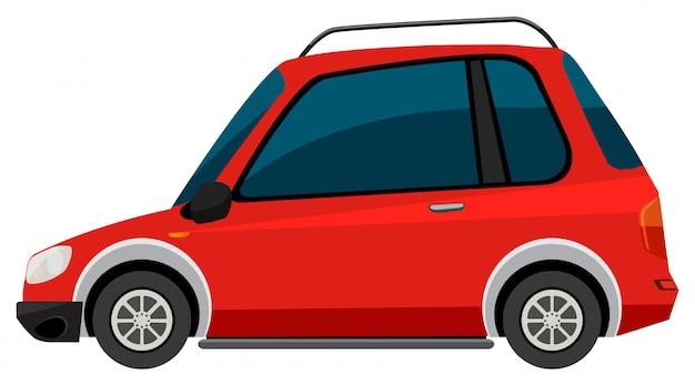 白地に赤い車