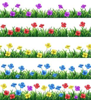 異なる色の花と草のイラスト