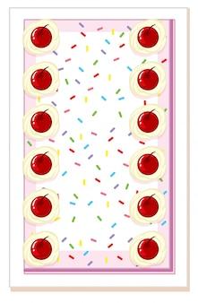 桜のケーキの上から見る
