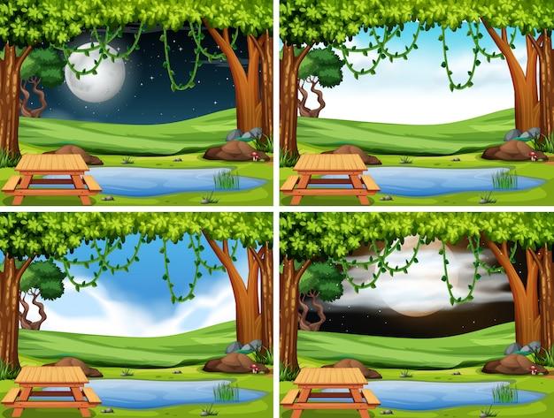 公園の風景のセット