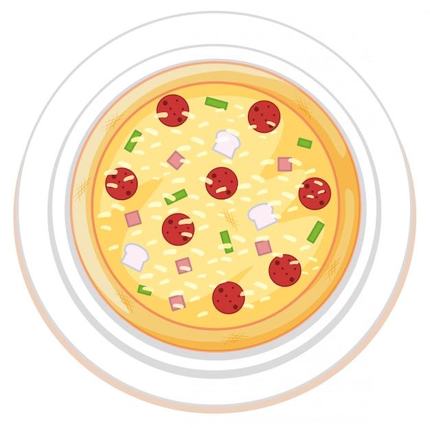 白い背景の上のピザ