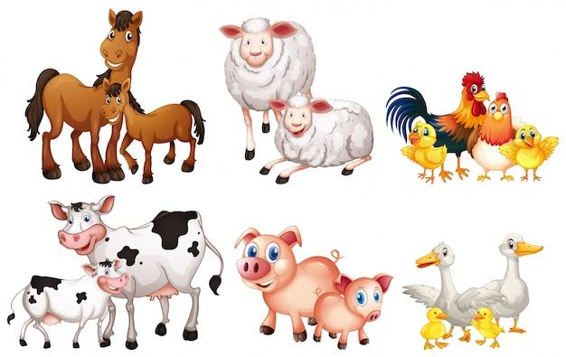 農場の動物のセット