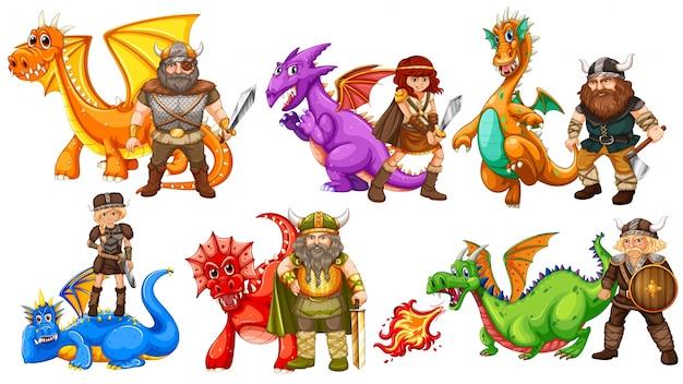 バイキング部族と多くの竜