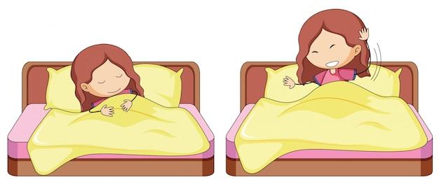 ベッドの中で女の子のセット