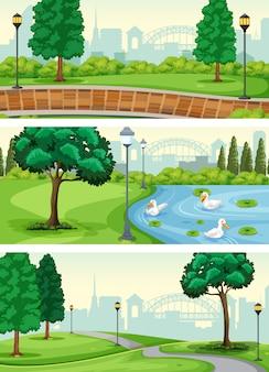 公園のシーンのセット