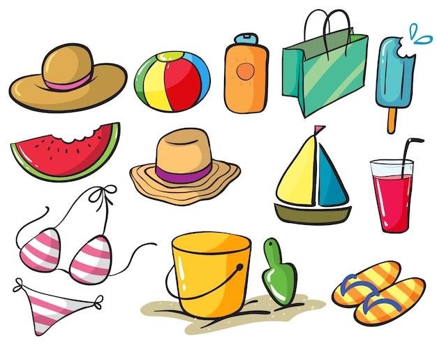 Иллюстрация набора вещей, связанных с пляжем