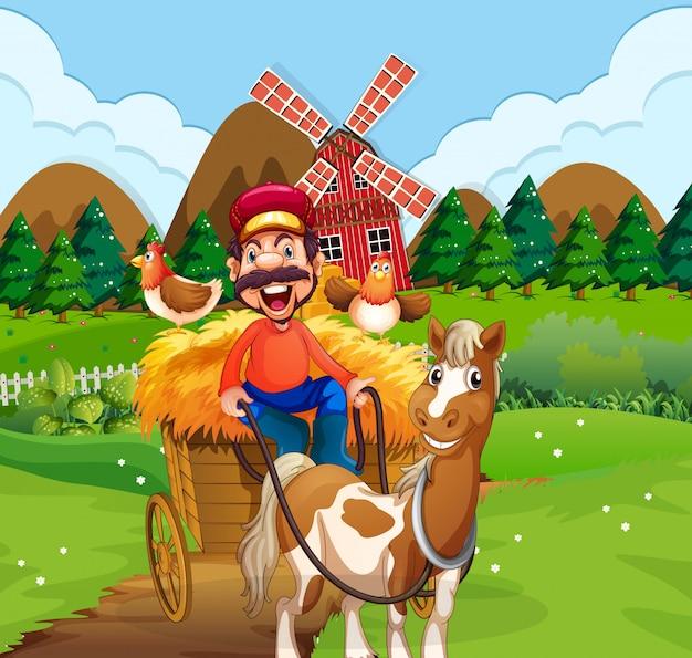 Счастливый фермер езда на телеге