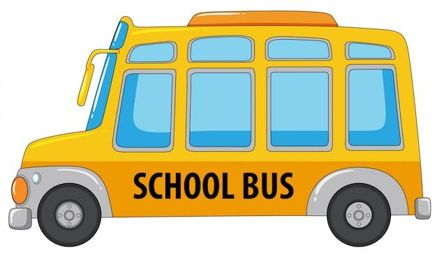 白い背景の上のスクールバス