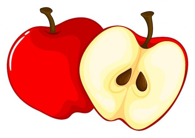 赤いリンゴを半分に切る
