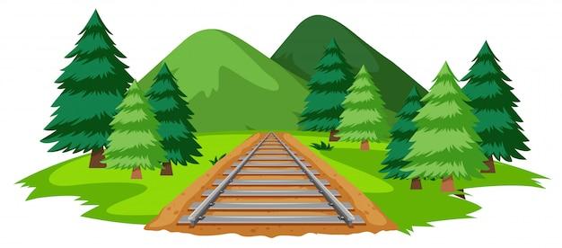 自然の中の電車の線路