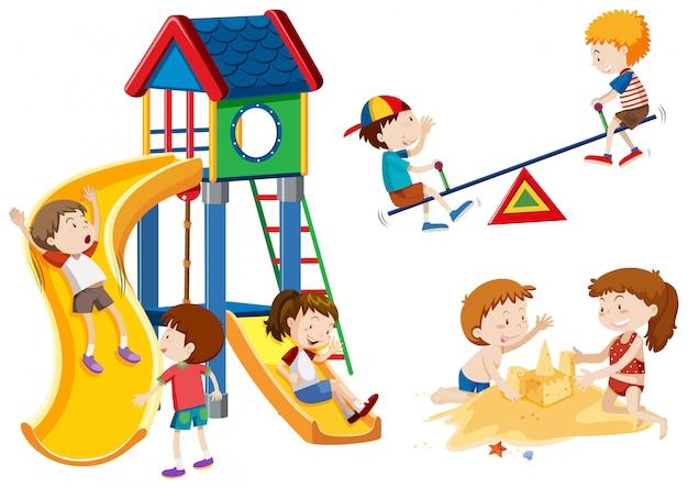 遊び場で遊ぶ子供たち